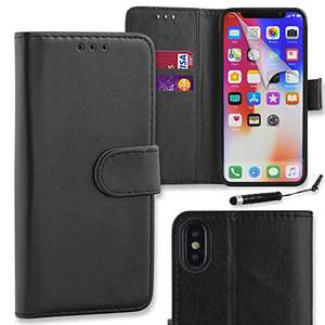 Connect Zone® Black Premium PU Leather Flip Wallet Case Cover Pouch for iPhone X (iPhone 10) with Screen Protector, Polishing Cloth and Mini Stylus £3.49 Prime old by Connect Zone® and Fulfilled by Amazon.