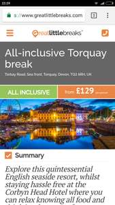 Two Night All Inclusive UK Breaks (Inc weekend dates) from £109pp (£218pp for 2) @ Great Little Breaks