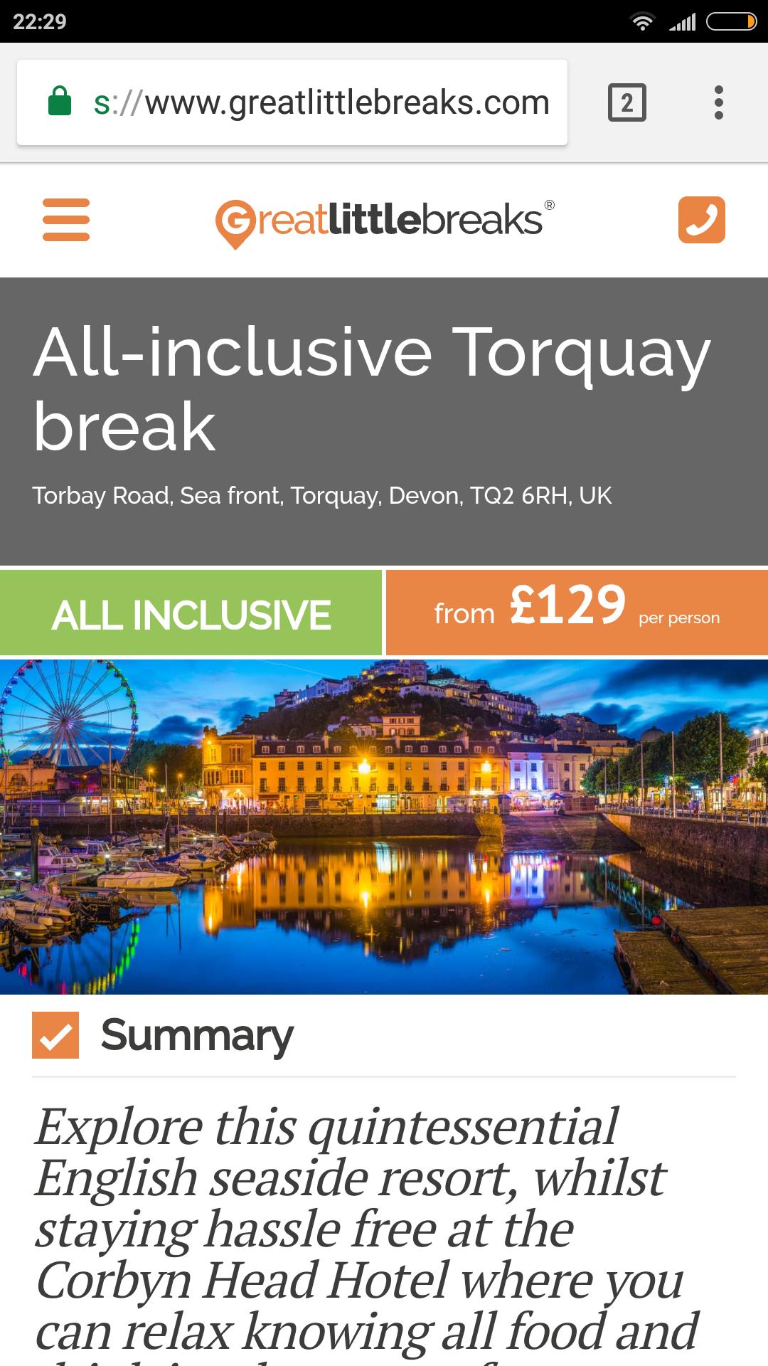 Two Night All Inclusive UK Breaks (Inc weekend dates) from £109pp (£218pp for 2) @ Great Little Breaks