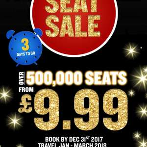 Ryanair 3 day seat sale from £9.99 one way