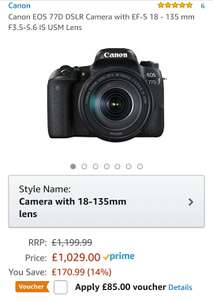 Canon 77d with 18-135mm USM £944 (£859 after cashback) @ Amazon.co.uk
