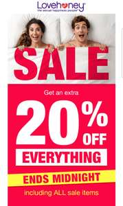 Extra 20% off of everything, even all sale items @ Lovehoney (30/12 only)
