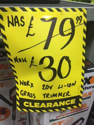 Worx 20v Rechargeable Grass Trimmer + 2 Batteries £25.50 with voucher @ Homebase