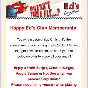 Free burger with drink purchase @ Ed's Easy Diner
