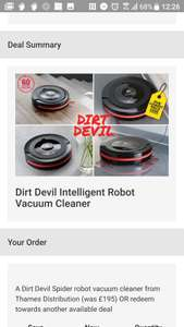 Dirt devil spider robot vac £73.99 Delivered through wowcher sold by Thames Distribution