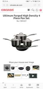 Circulon Ultimum four peice pan set for £150 at Circulon UK