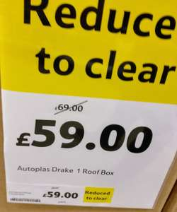 Autoplas Drake Roofbox 200L £59 (down from £115 to £69 then an extra £10 off) in store clearance  at Tesco