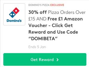 "30% off pizza orders over £15 with free £1 Amazon voucher using the Code ""DOMIBETA"" @ Domino's Pizza"