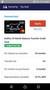 Longest fee free balance transfer credit card via Halifax/uSwitch - 29 months