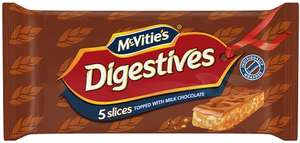 McVities Digestive Caramel or Chocolate Slices (5 Pack = 124.4g) / McVities Hobnobs Chocolate Slices (5 Pack = 128.6g) Half Price was £1.45 now 72p @ Tesco