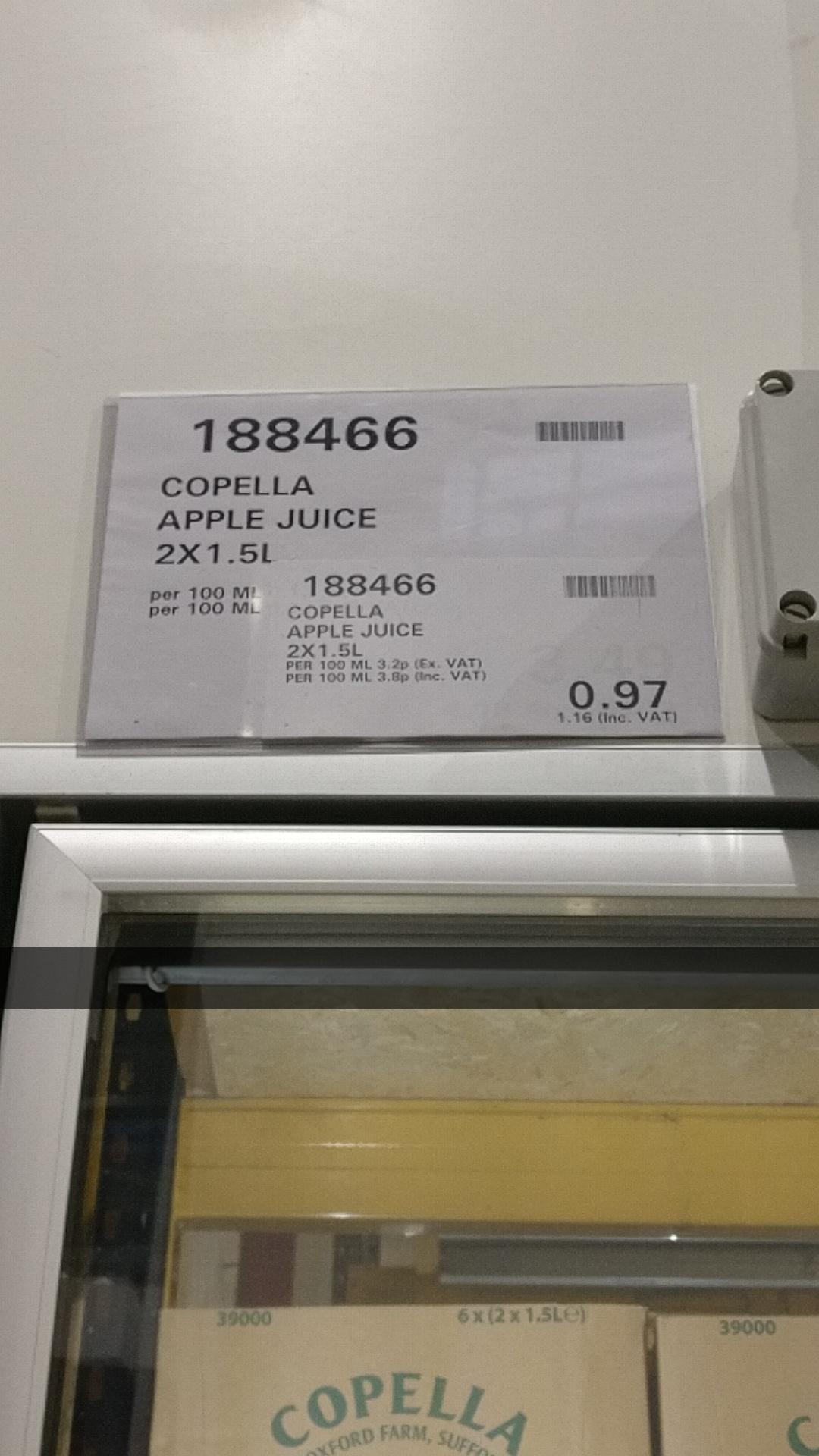 Costcos 2 x Copella Cloudy Apple 1.5 litres for 97p + VAT = £1.14