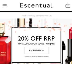 Escentual 20% off all products with free delivery on orders above £30