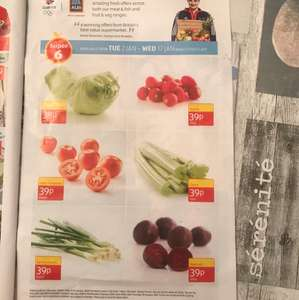 Aldi Super 6 @ 39p - Iceberg Lettuce, Radish 250g, Salad Tomatoes 6 Pack, Celery, Spring Onions Bunch, Beetroot 500g