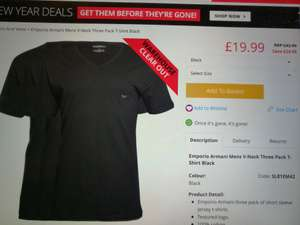 3 Pack Armani Tops £19.99 @ M&MDirect