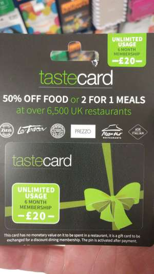 6 month tastecard from Tesco for £20
