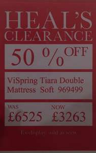 50% Off Vi-Spring Tiara Double Mattress ex display Soft - Heal's Kingston store