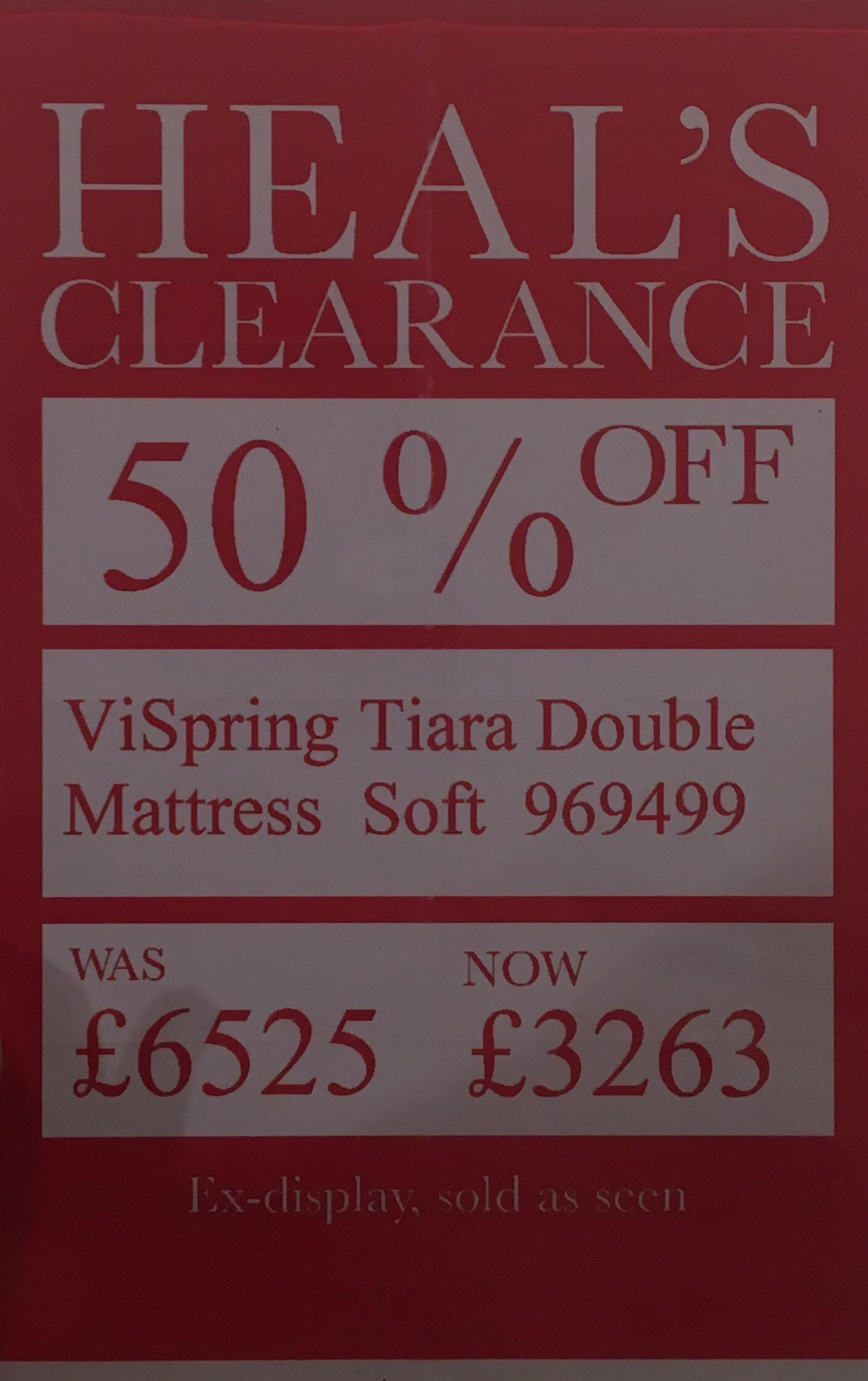 50% Off Vi-Spring Tiara Double Mattress ex display Soft - Heal's Kingston store