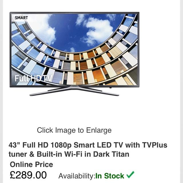 SAMSUNG UE43M5520 TV FHD 1080p £289 @ RGB