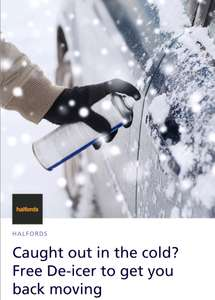 Free De-icer to get you back moving from Halfords using O2 priority