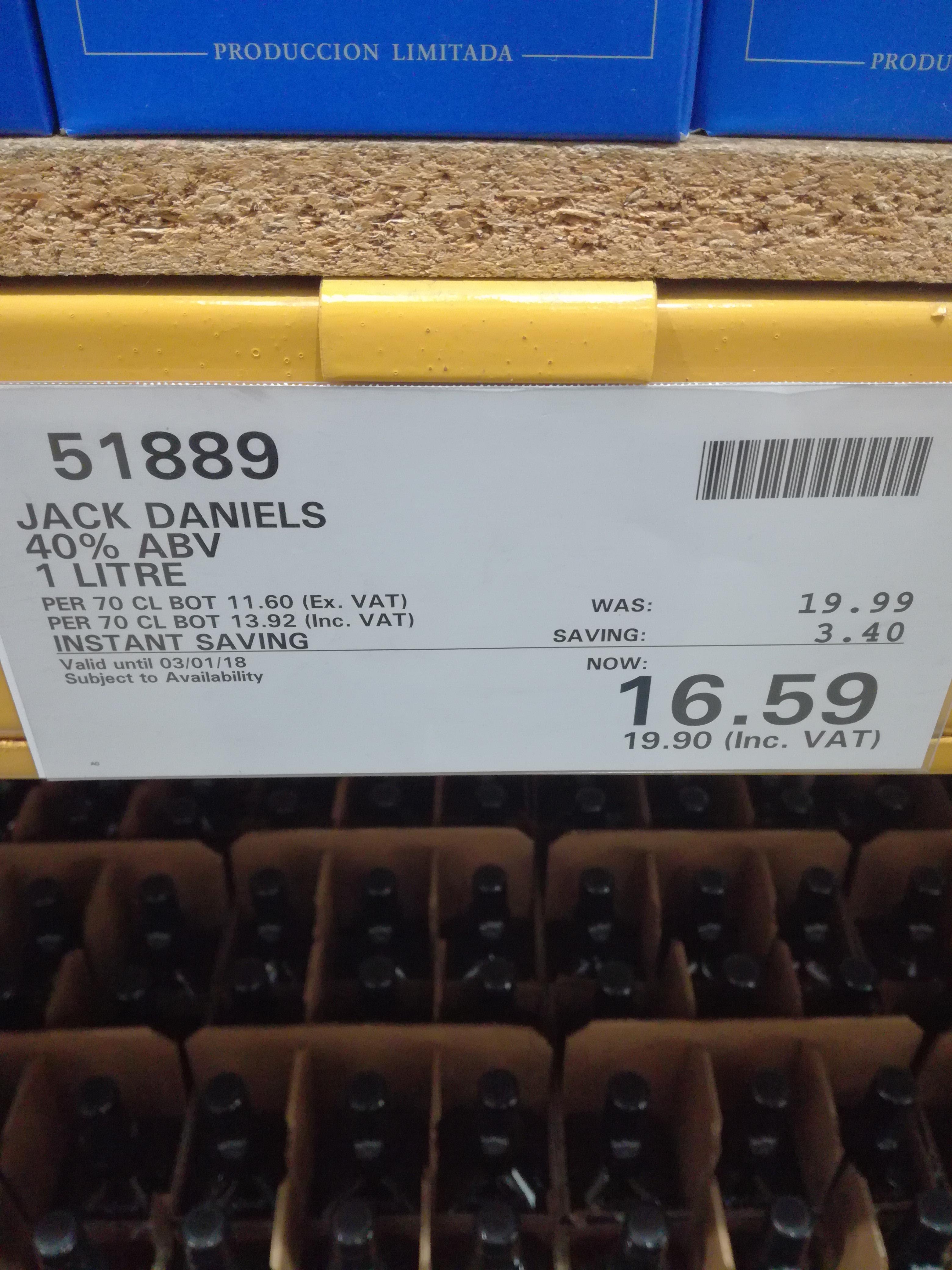 Jack Daniels 1l - £19.90 instore @ Costco