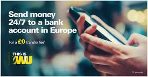 No transfer fees to European bank accounts with Western Union