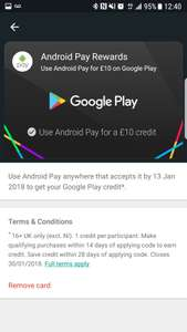 Free £10 Google Play Credit for using Android Pay - Account specific