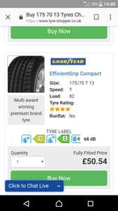Goodyear efficient grip compact 175/70/13 £50.54 @ Tyre Shopper