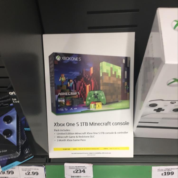 Xbox 1tb Minecraft Edition £234 instore @ Sainsbury's