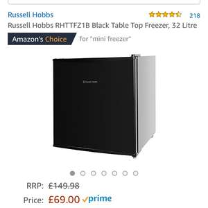 Russell Hobbs RHTTFZ1B Black Table Top Freezer (Prime exclusive) £69 @ Amazon