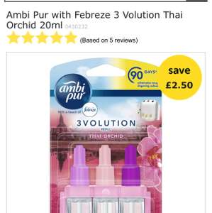 Ambi Pur with Febreze 3 Volution Thai Orchid 20ml £2.50 @ Wilko