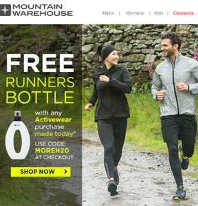 Free water bottle from Mountain Warehouse With any activeware purchase made today