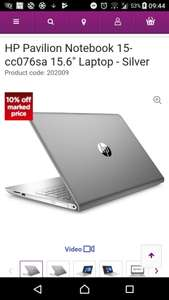 "HP Pavilion Notebook 15-cc076sa 15.6"" Laptop i7 processor SSD storage  £674.99 with code  - Currys"