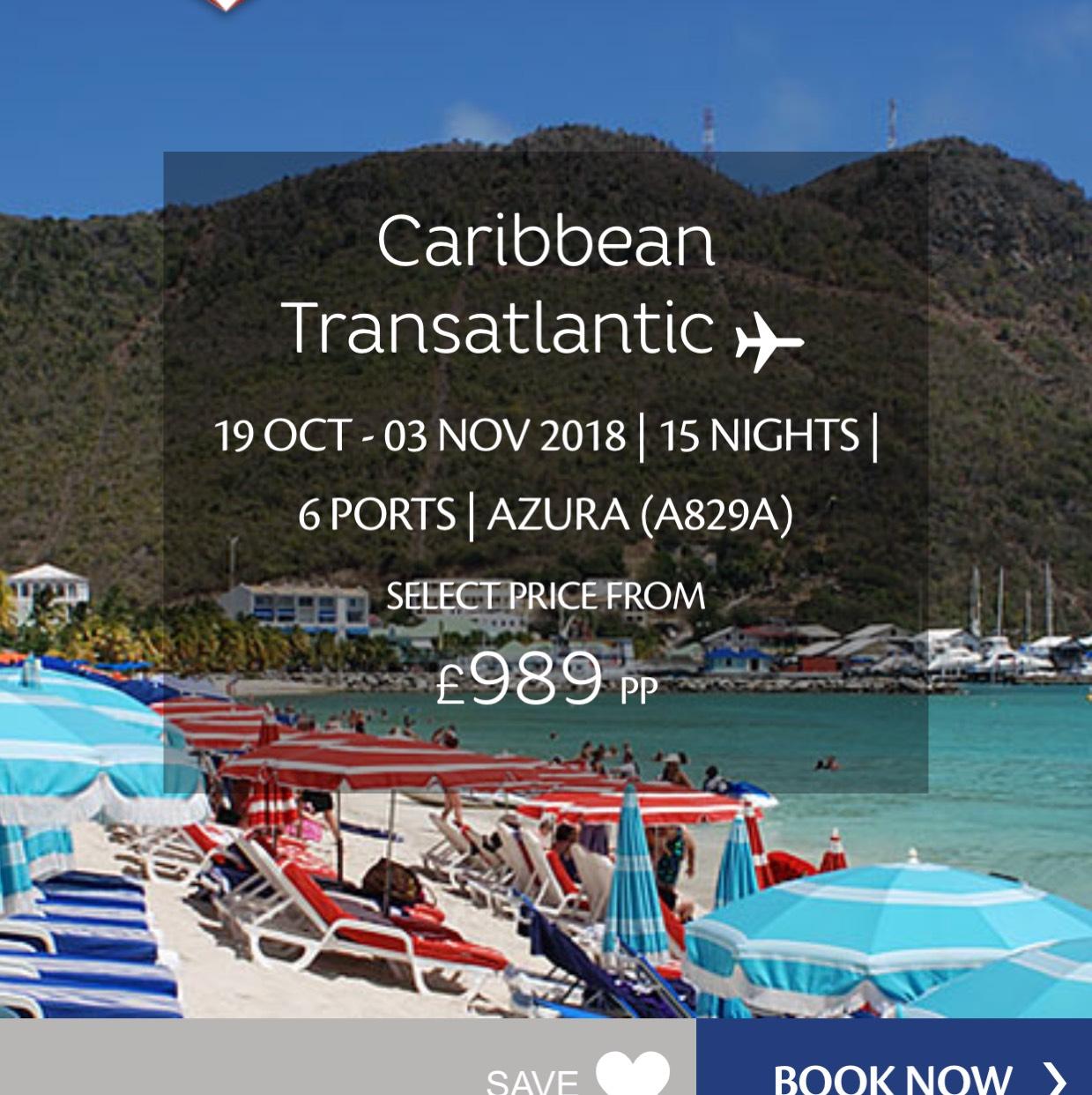 15 nights transatlantic P&O Caribbean cruise on Azura from £989pp @ P&O Cruises