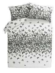 Asda home- king size monochrome butterfly duvet cover online deal,free click and collect to store - £7