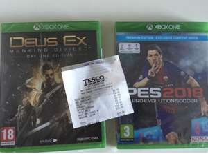 Cheap Clearance games in Tesco store - PES18 & Deus Ex xbox one for £25
