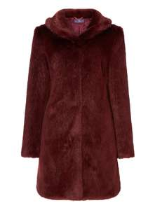 Sainsbury's Berry Red Premium Faux Fur Coat, Half Price - £30! Only sizes 12/14/16 left in stock - Free c&c