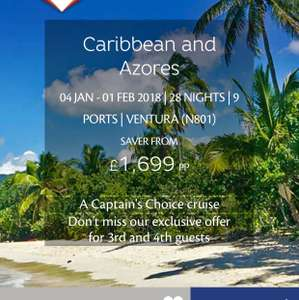 28 night Caribbean round trip from Southampton for the non flyers! - £1699 @ P&O Cruises