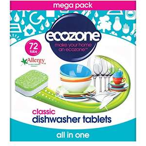 Out Of Stock, But Orderable - Ecozone Classic Dishwasher Tablets 72 tablet x 5 (360 in Total = £0.02 each) - £8.39 Prime / £13.14 non Prime @ Amazon