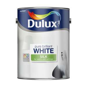 Dulux Silk Emulsion Paint Pure Brilliant White (5L) £12 @ Wilko
