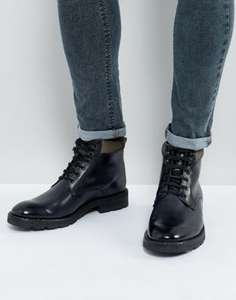 Base London Panzer Leather Lace Up Boots In Grey £32 @ Asos