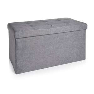 WILKO - Large Faux Linen Ottoman Grey/cream (NOW: £17)