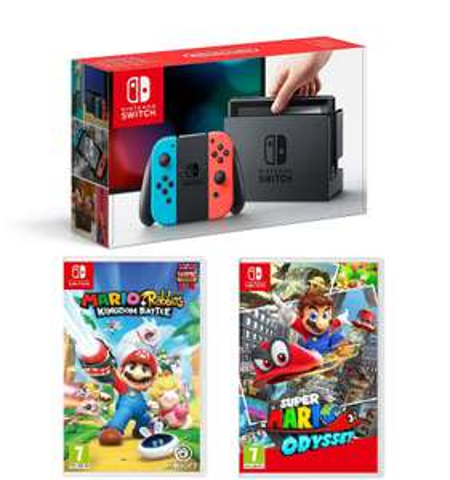 Nintendo Switch Neon + Super Mario Odyssey + Mario Rabbids Kingdom Battle £319 @ Tesco Direct