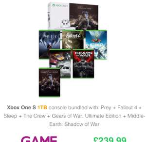 Xbox one 1tb Bundle shadow of war, gears of war, fallout 4, steep, prey, the crew £239.99 at GAME