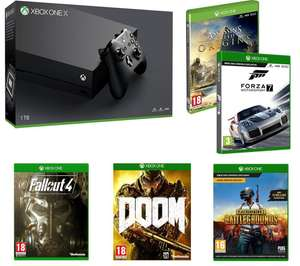 *Update: price reduced* Microsoft Xbox One X 1TB with Fallout 4 + Doom + Forza Motorsport 7 + Playerunknown's Battlegrounds + Assassin's Creed Origins including free UK Delivery £469.98 @ Currys **In store and Online**