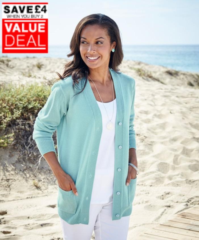 Ladies' soft cardigan (mint colour) 60p w/code + £2.99 delivery @ Damart