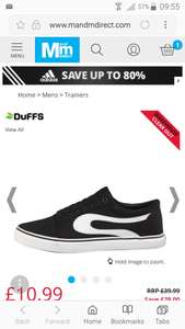 Cheap pair of Duff trainers £10.99 + £4.49 delivery at MandM Direct