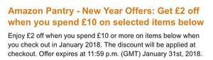 £2 off £10 spend on selected items @ Amazon Pantry