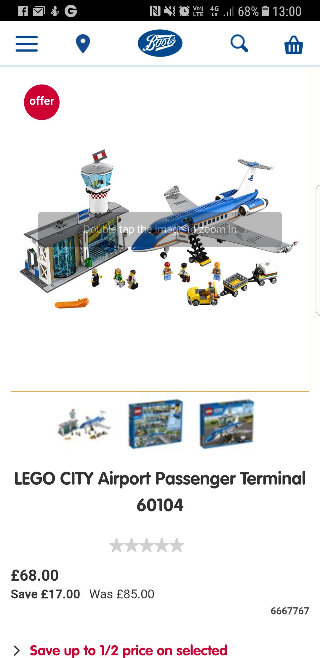 Lego City airport passenger terminal 60104 £68 @ Boots