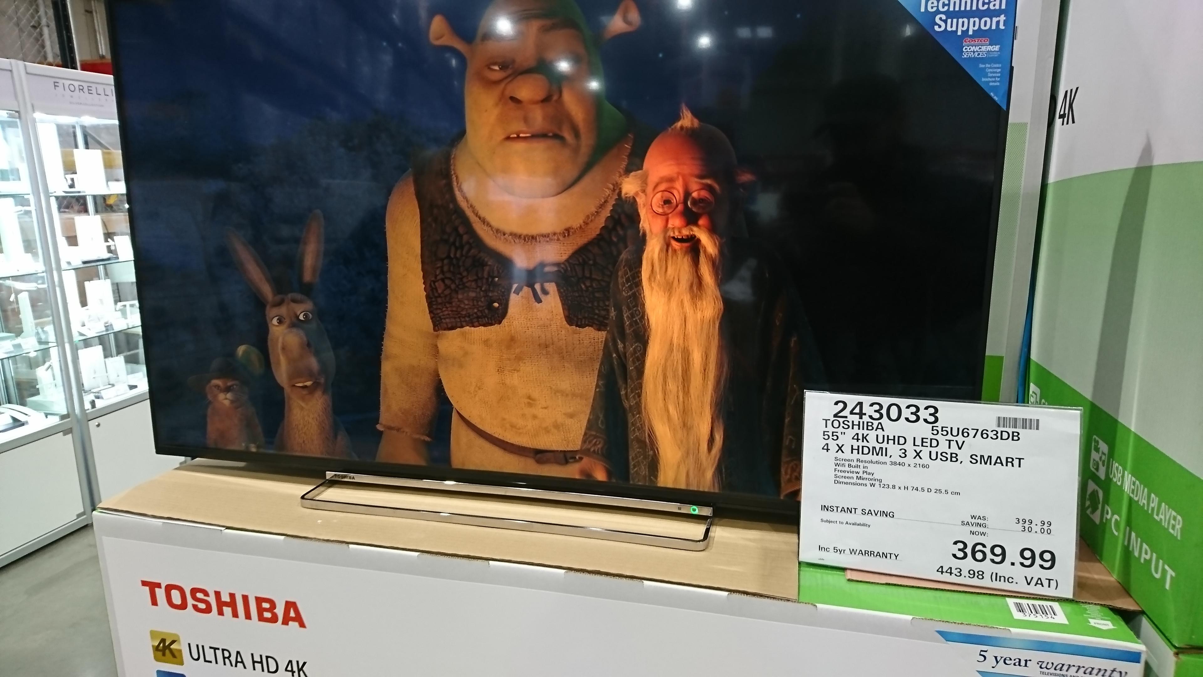 Toshiba 55 inch 4k uhd led - £443.98 @ Costco