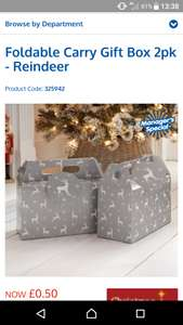 Foldable carry gift box 2 pack 50p instore @ b&m